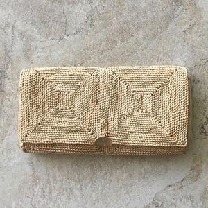 Vintage Italian Jute clutch gold hardware